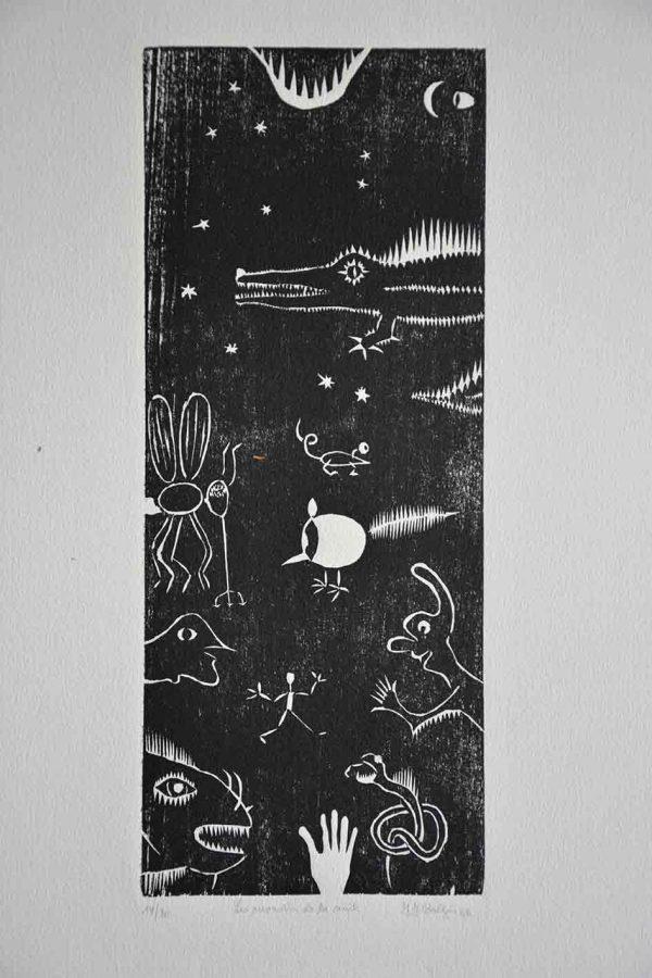Monstres de la nuit, gravure de JF Baltzen