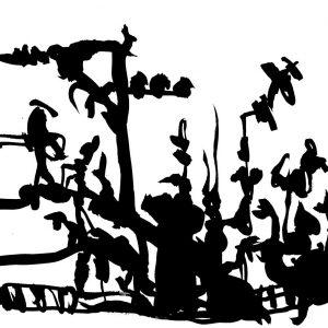 Le mât de cocagne, dessin à l'encre de Chine de Michèle Schembri