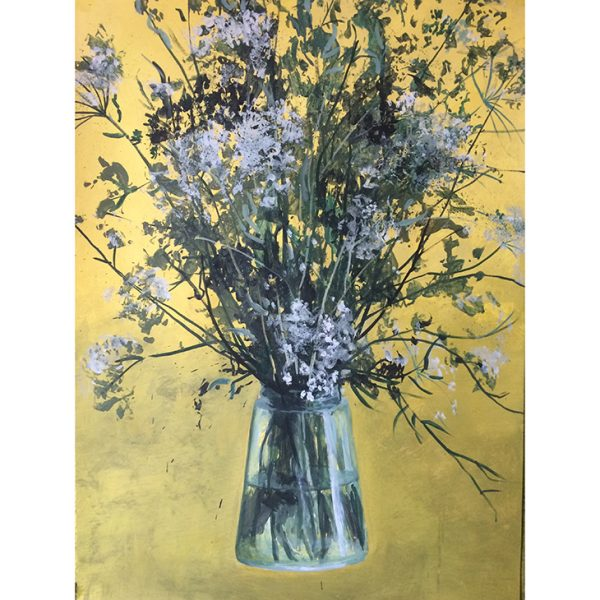 bouquet sur fond jaune